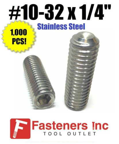 "Qty 1000 #10-32 x 1//4/"" Stainless Steel Socket Set Screw Cup Point Fine Thread"