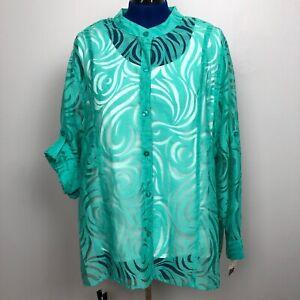 Alfred-Dunner-Women-039-s-Size-24W-Twin-set-Button-up-Shirt-Tank-top-shell-blouse