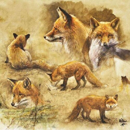 4 Single paper decoupage napkins.Fox portraits of foxes wildlife design 628