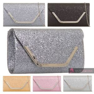 13324cfff Image is loading LADIES-NEW-SHIMMER-GLITTER-SILVER-TRIM-CHAIN-EVENING-