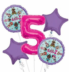 New LOL Surprise 7TH Seven Birthday Party Favor Supplies Balloon Bouquet 5pc
