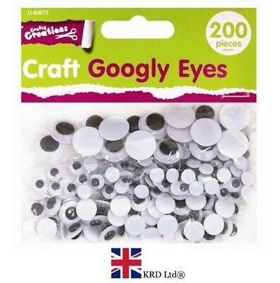 Initiatief 200/400/600 Craft Googly Eyes Wiggly Wobbly Sticky Stick On Arts Kids Craft Uk Elegant In Geur