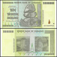 Zimbabwe 10 Trillion Dollar Banknote, 2008, AA Series, USED