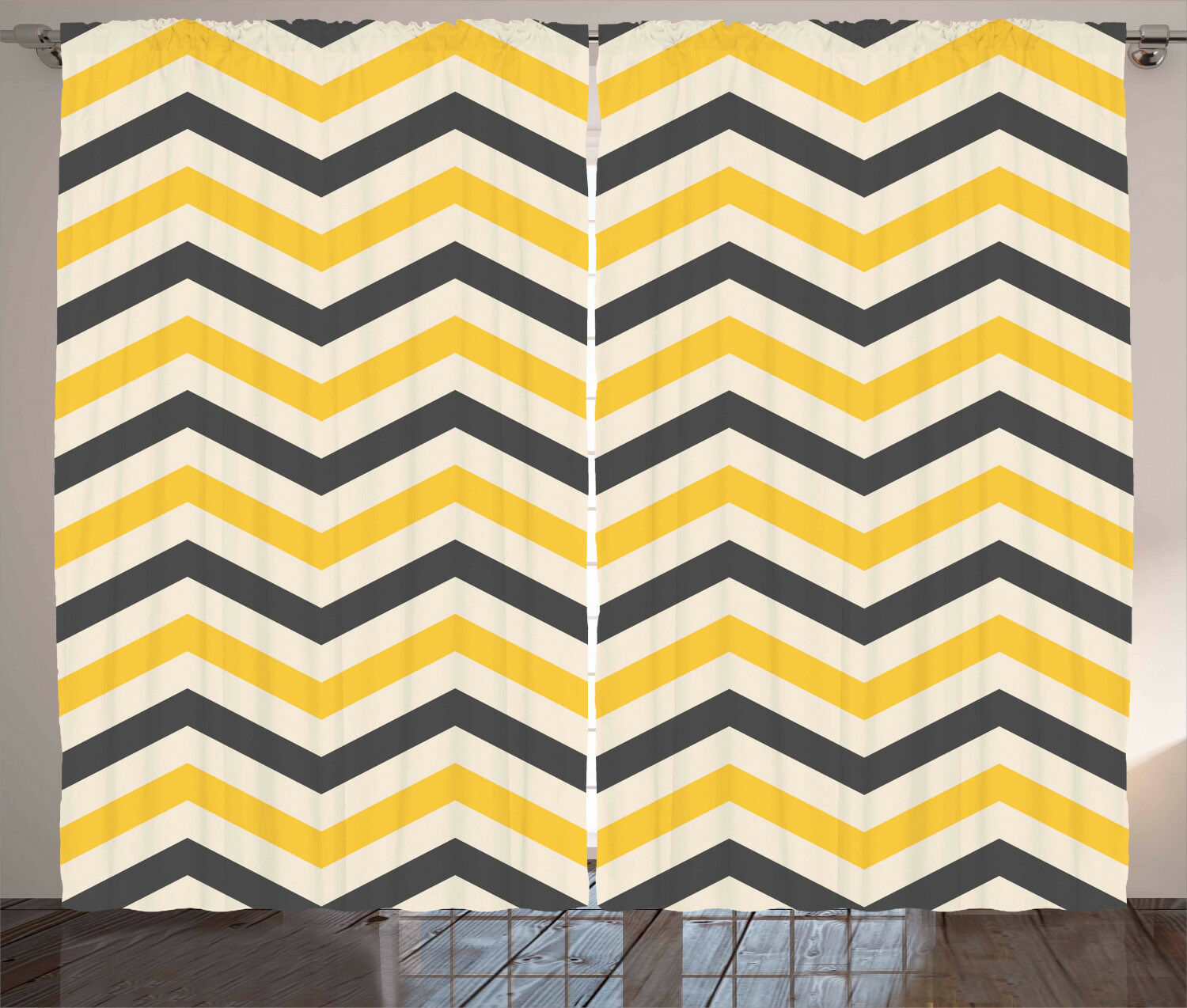 Cortinas Chevron amarillo grande zigzags Ventana Panel Set 108x96 Pulgadas Cortinas 2