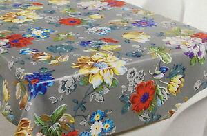 Tovaglia di tela cerata quadrato rotondo ovale lavabile fiori variopinto grigio ebay - Tovaglia per tavolo ovale ...