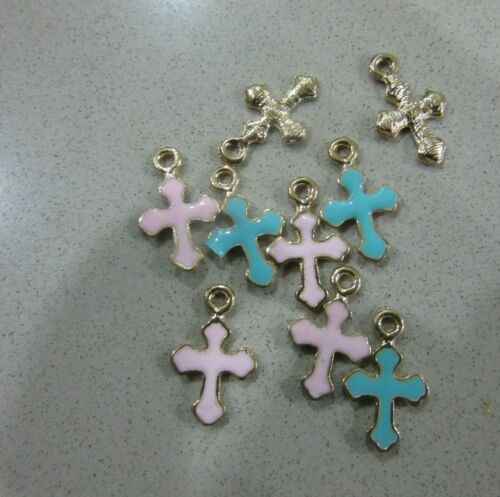 50 BLUE//PINK 1.5x1cm Gold Metal Cross Christening Baptism Bomboniere Martirika