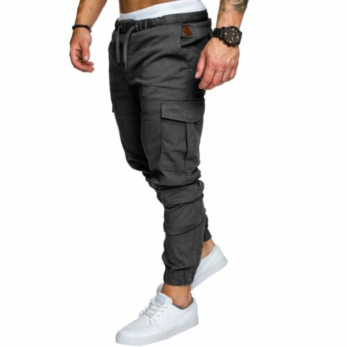 New Men/'s Slim Fit Urban Straight Leg Trousers Casual Pencil Jogger Cargo Pants
