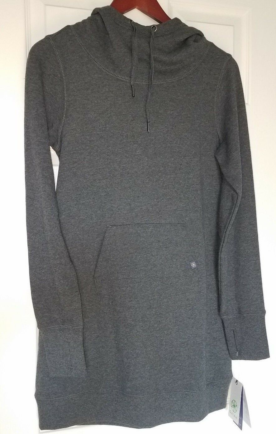 New GAIAM Women Bliss Fleece Yoga Dress Sweater Charcoal Heather Grey XS