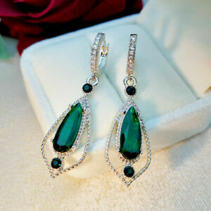 Vintage-Earrings-Gifts-Woman-Wedding-Ear-Hook-Dangle-Trendy-Emerald-Jewelry
