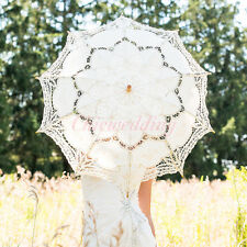 Beige Battenburg Lace Parasol Umbrella Beauty Cosplay Wedding Bridal Party Decor