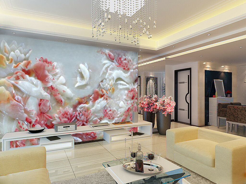 3D Jade Pink Lotus 8 Wall Paper Murals Wall Print Wall Wallpaper Mural AU Summer