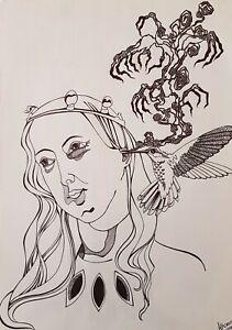 Lysiane-D-Coste-dessin-sur-papier-drawing-on-paper-virgo-29-42cm-2016