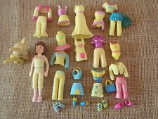 "Polly Pocket Doll Lot ""Colors of the Rainbow"" Yellow Outfits Clothes Pet  H47"