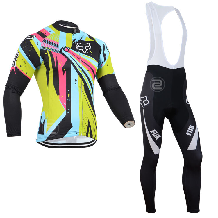 New Thermal Fleece Sies long sleeve Radfahren Trikot Bib Hose