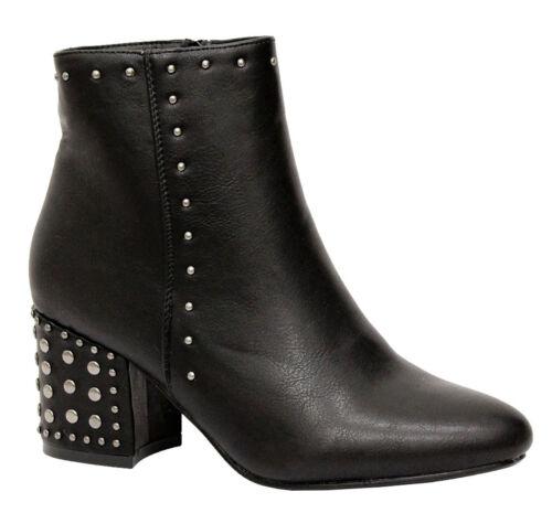 Mesdames Femmes Bloc Talon Moyen Fermeture Éclair Rivets Punk Goth Bottines Chelsea Chaussures Taille