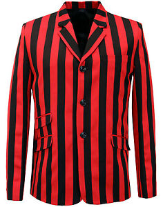 3caec2503ab NEW MENS MADCAP BOATING BLAZER Mod Striped 60s JACKET INFERNO RED ...
