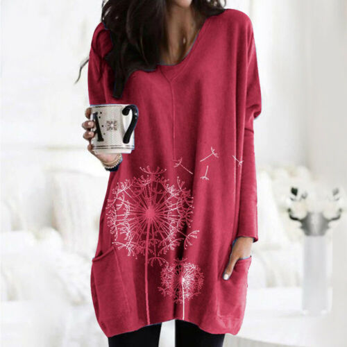 Women Printed Long Sleeve Pocket Pullover Ladies Casual Loose Baggy Blouse Tops