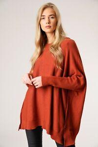 New-Oversized-Ladies-Italian-Boxy-Lagenlook-Split-Sides-Poncho-Look-Jumper-Top