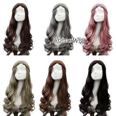 Lolita Black/Brown/Gray Curly Long Hair Women Basic Cosplay Wig Heat Resistant