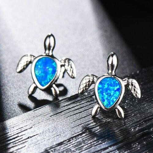 925 Argent Mignon Bleu//Blanc Poire Cut Fire Opal turtle Boucles d/'oreille Mariage Cadeaux
