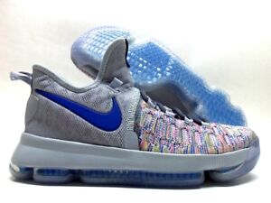 NIKE KD 9 IX ID KEVIN DURANT MULTI-COLOR/COOL GREY-ROYAL SZ MEN 9.5 [863695-984]