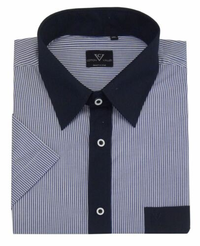 in Navy//Blue 14332 Cotton Valley Mens Cotton Rich Smart Casual SS Shirt