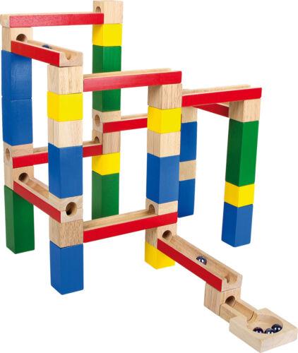 Murmelbahn Bauklötze kreative Kugelbahnen selber bauen buntes Holz