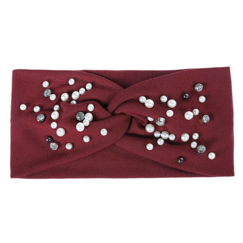 Ladies Pearl Turban Hairband Knot Headband Hair Accessories Head Wrap Bandanas