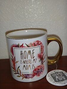Golden Ceramic Coffee Mug Floral Tea Cup 22 Oz Home Is Where My