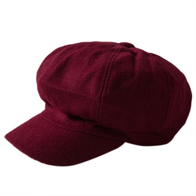 Womens Wool Blend Baker Boy Peaked Cap Belet Newsboy Hat with Elastic band nNIU