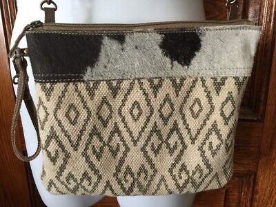 "Myra Bag Grumpy Crossbody Bag Hair On Cow Hide HoneyComb Rug 10/"" x 7"" Fold Over"