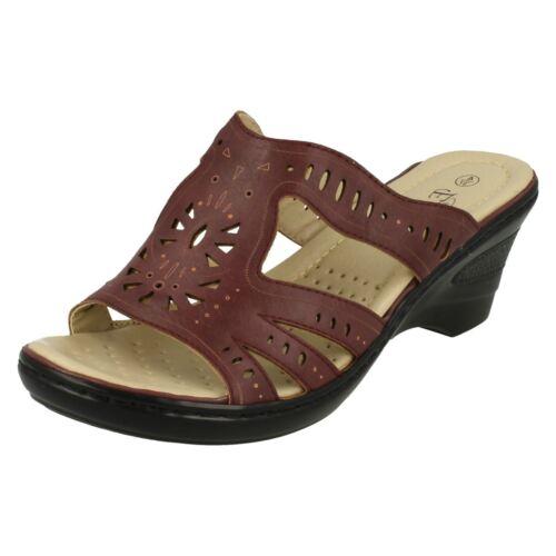 Eaze F3R103 Ladies Burgundy Heeled Sandals UK Sizes 3 to 7 R5B