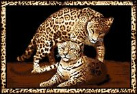 Leopard Family Area Rug 4x6 African Border Carpet - Actual 3' 7 X 5' 3 on sale