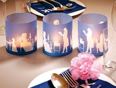 Cedon Windlichter Scherenschnitte der Goethezeit blau