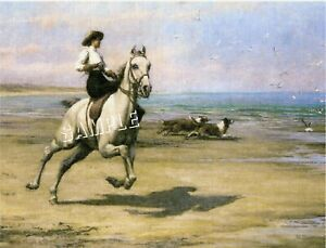 VICTORIAN Lady SIDESADDLE Beach CANVAS Collie Art Print