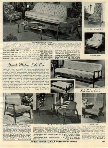 1965 PAPER AD Furniture Mid Century Modern Danish Futon Thaden Swivel Jordan