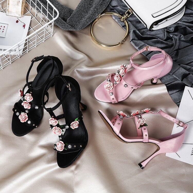 Chic Donna Pink Diamante Flowers T-strap Stiletto Heels Shoes Wedding Bride Heels Stiletto abc3fc
