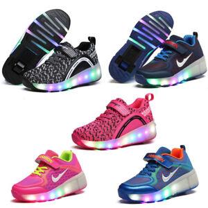 Le Pour Enfants Lumière Heelys Chaussures Mesh Spor Flash Led Détails Roller Sur 3LRq45jA