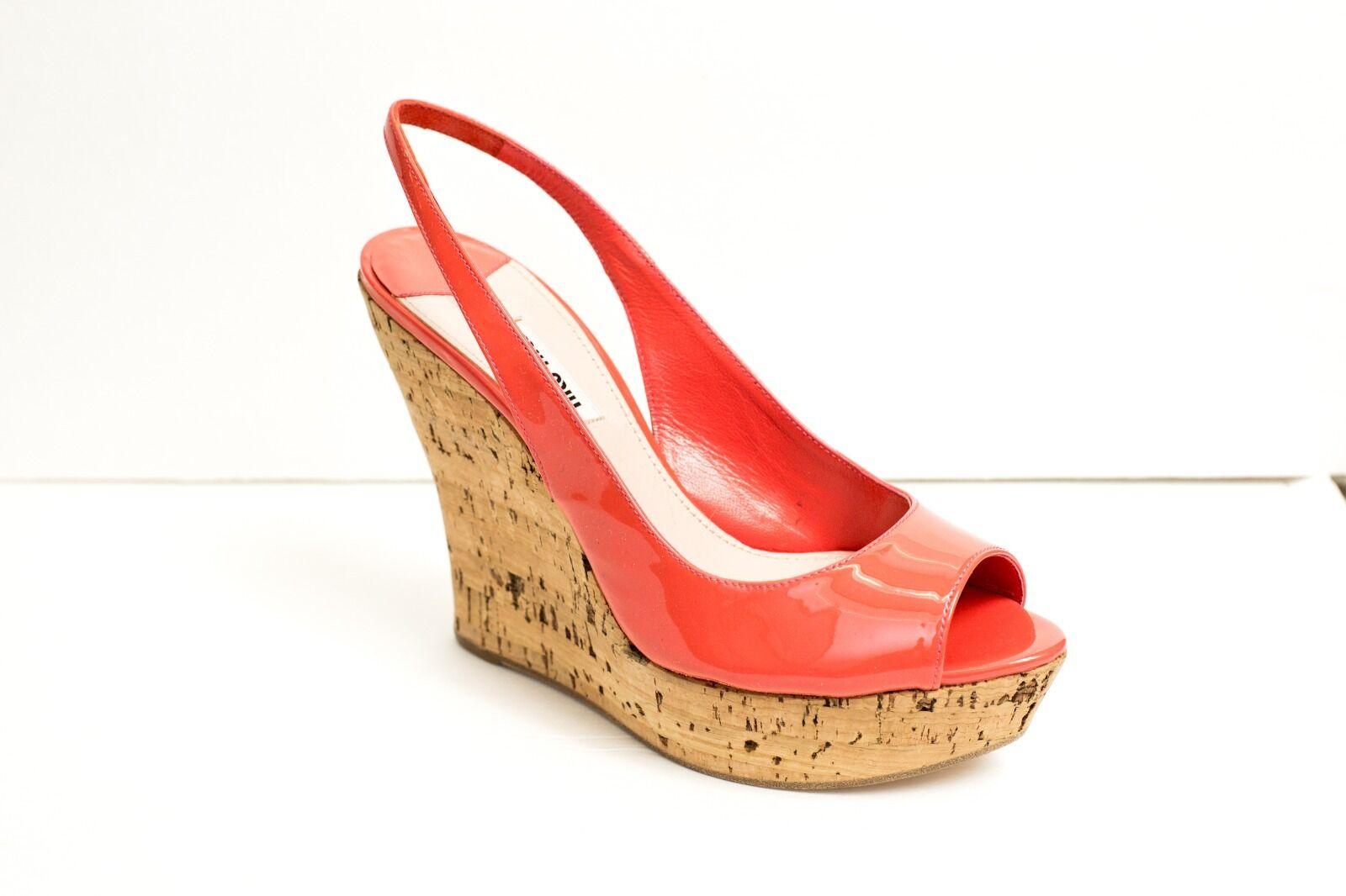Miu Miu Zapatos Sandalias Tacones Coral Charol ESLINGA ESLINGA ESLINGA vuelta Cuñas 10 40  los clientes primero