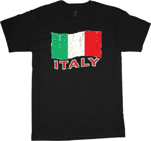 Italie T-shirt Drapeau Italien Design HOMME NOIR tee shirt voyage football pays
