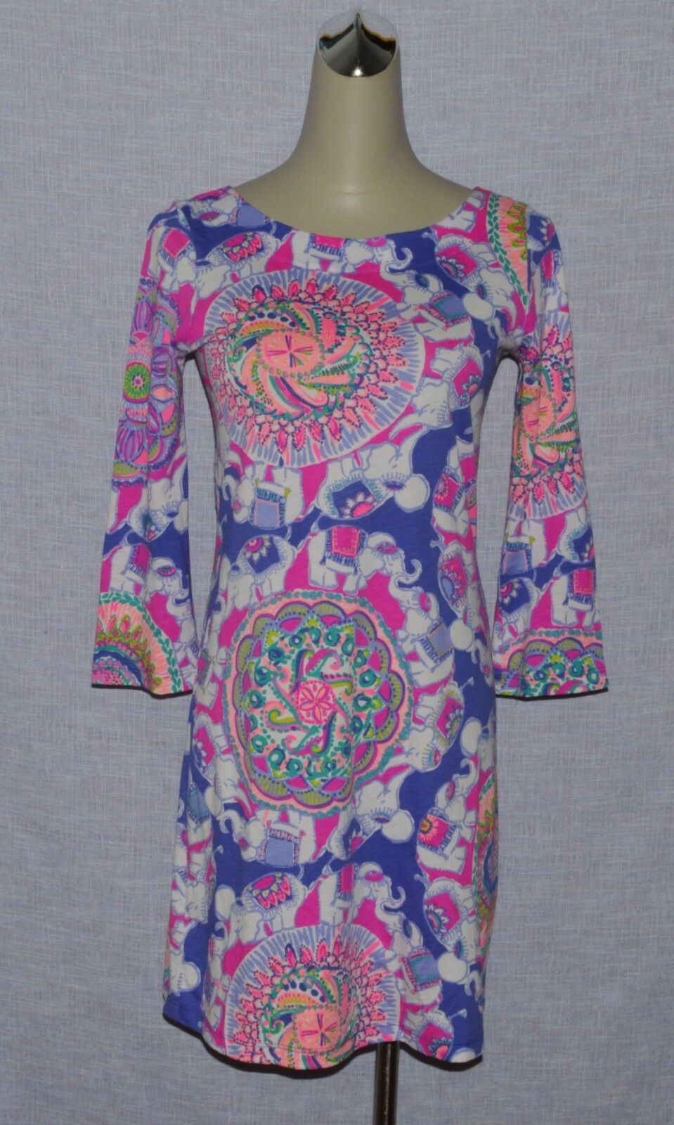 LILLY PULITZER NEW SZ XXS FLORAL ELEPHANT PRINT PRINT PRINT LONG SLEEVE KNEE LENGTH  DRESS c04413