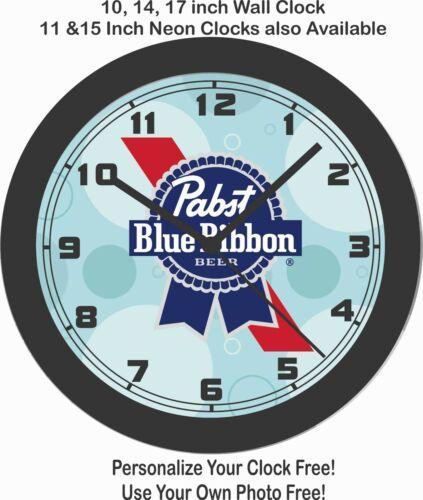 PABST BLUE RIBBON BEER EMBLEM WALL CLOCK-FREE USA SHIP!