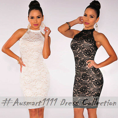 Sexy Sleeveless Lace Slim Mini Formal Evening Party Club Halter Bodycon Dress