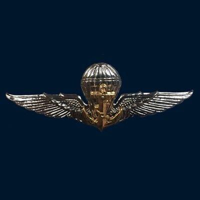 "Royal Thai Air Force Emblem Badge Silver Pin Logo Insignia Parachute Decor 3.5/"""