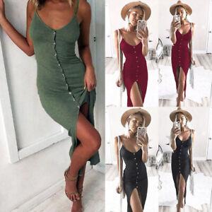 UK Womens Sleeveless Button Split Sundress Ladies Summer Holiday Long Maxi Dress