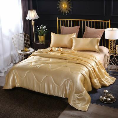 Luxury Durable Y Satin Comforter Set, Gold Satin Bedding