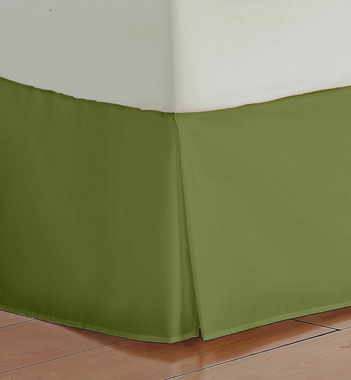 1000TC Olive Solid Bed Skirt Select Drop Length All US Size 100% Egy. cotton