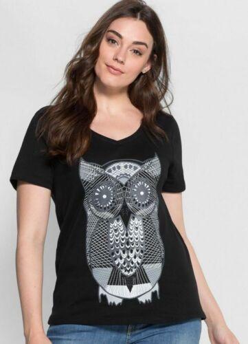 Sheego Shirt Taille 48//50+52//54+56//58 hibou noir tunique femme nouveau Hiboux Tunique Top