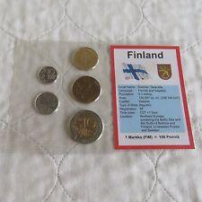 FINLAND 5 COIN MARKKA PRE EURO TYPE SET - sealed pack