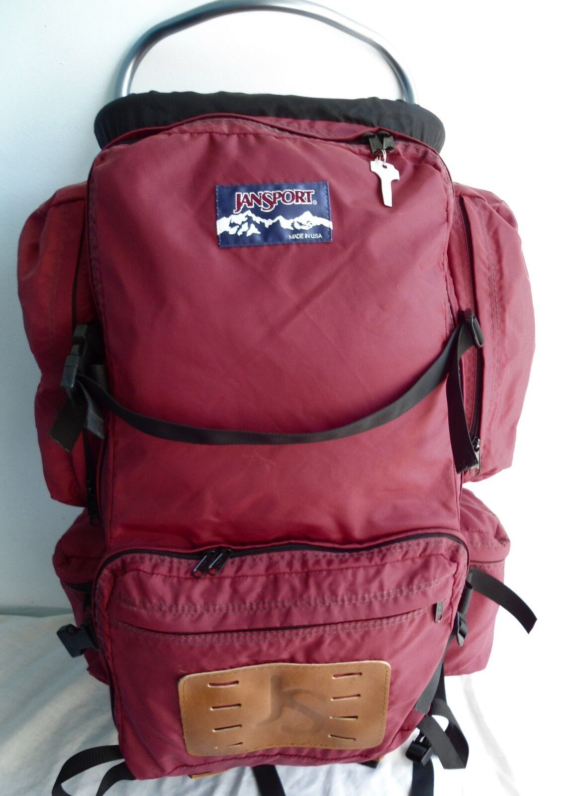 Vintage Jansport Burgundy External Frame gree Backpack Hire fatto in USA